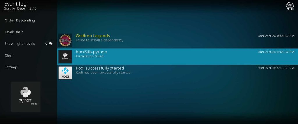 dependency failed to install found in kodi event log file