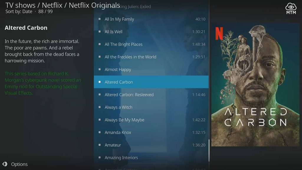kodi tv addon netflix originals category