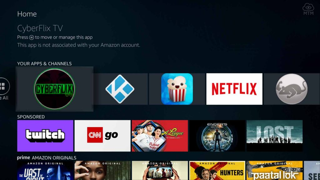 cyberflix tv apk installed on firestick 4k