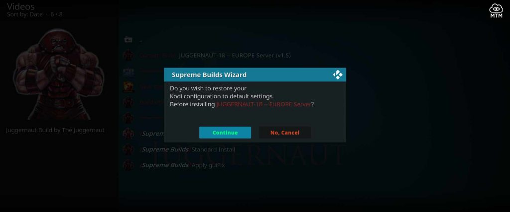 reset kodi to factory specs for juggernaut build install
