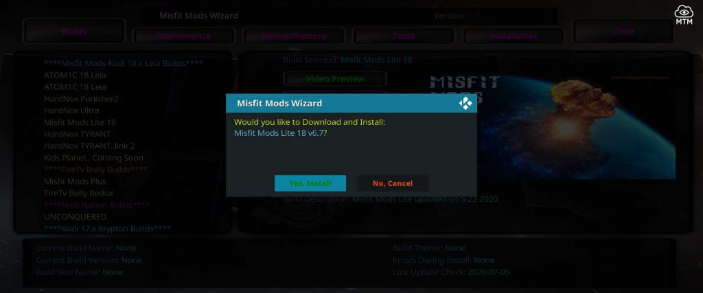 misfit mods lite 18 build install confirmation