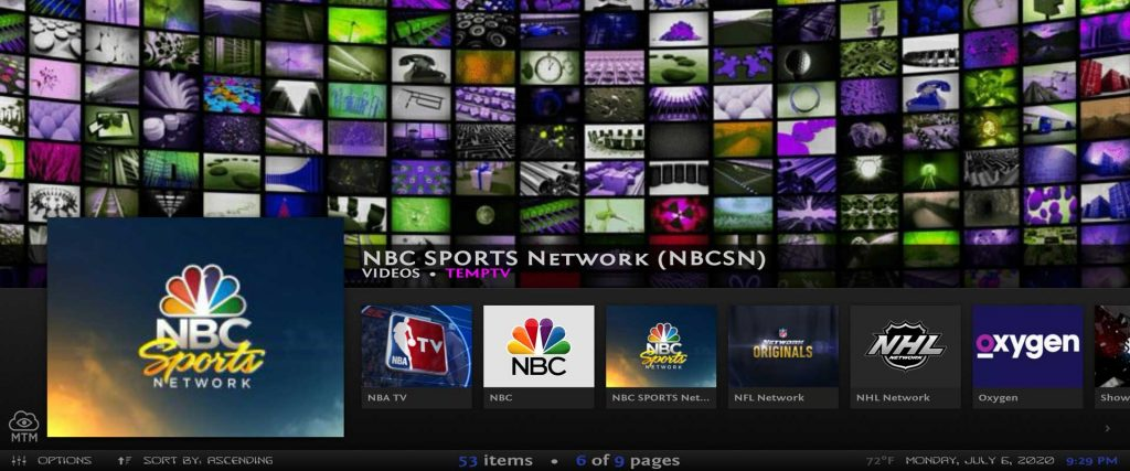 sports network channels and live tv stations in misfit mods lite kodi 18 build