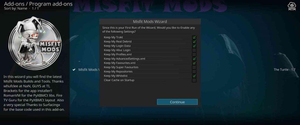 misfit mods lite 18 install from kodi wizard