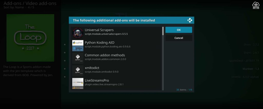 sports dependencies for the loop kodi sports add-on