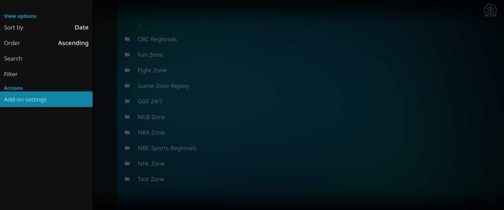 the loop sports kodi addon settings