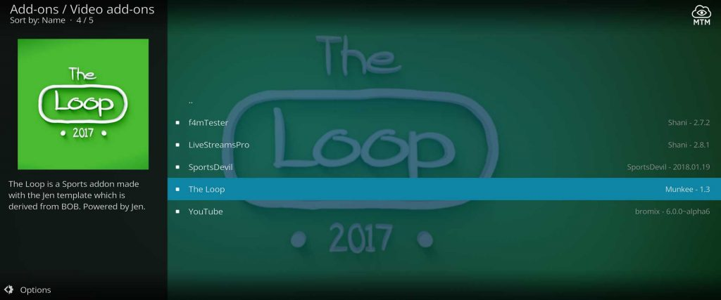 install the loop for kodi streaming sports events and movies