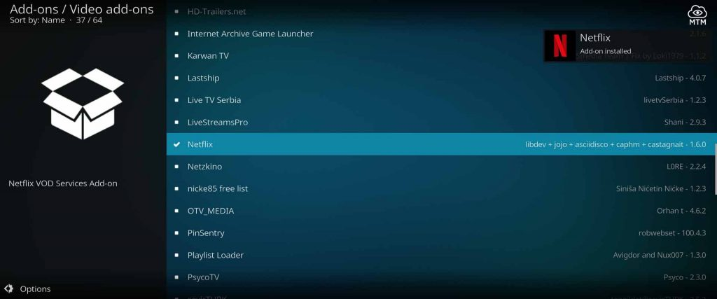 Netflix Kodi Add-on Installed