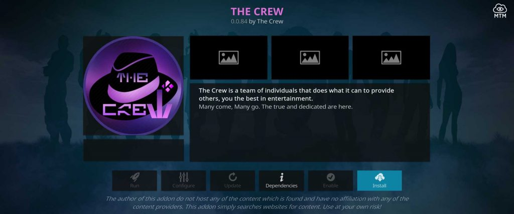 the crew video addon install button