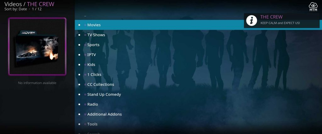 the crew on kodi - video categories